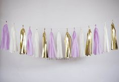 Ivory Gold Lilac Tassel Garland Lilac Gold Garland by LoveGarlands