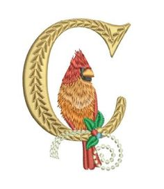 "Enjoy the serene beauty of a female Cardinal nestled inside the ornate letter ""C"" for Christmas! The size design requires the pieces to be in 2 hoopings. Merge them together on your fabric to make Machine Embroidery Designs, Embroidery Patterns, Hand Embroidery, Applique Letters, Monogram Letters, Christmas Gifts To Make, Merry Christmas, Christmas Letters, Christmas Applique"