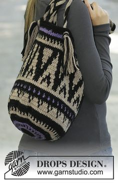 Crochet Purses Design Midnight Bonfires - free tapestry crochet bag pattern with charts by DROPS design - Drops Design, Tapestry Crochet Patterns, Crochet Purse Patterns, Knitting Patterns, Scarf Patterns, Knitting Tutorials, Crochet Handbags, Crochet Purses, Crochet Bags