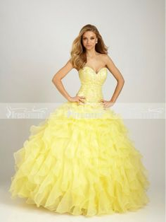 Bright Ball Gown Sweetheart Floor-length Organza Quinceanera Dress with Appliques