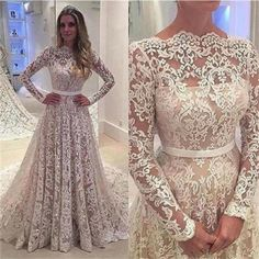 Long Sleeves Lace A-line Floor-Length with small tail Formal Simple Prom Dress