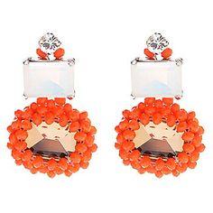 "RUSH 1.5"" Crystal, Glass & Simulated Diamond Beaded Oval Drop Earrings"