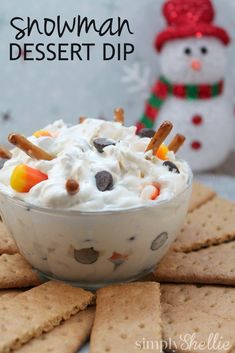 Fun party dip that looks like a melted snowman. #recipeoftheday