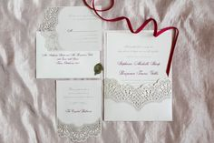 Delicate invitations with traditional calligraphy font. Photo by Amanda Watson Photography | Brides of Oklahoma #wedding #invitation #lace #red
