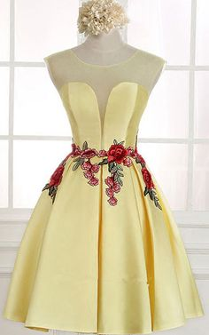Knee Length Yellow A Line V Neckline Cap Sleeve Ruched Appliques Satin Short Homecoming Dress