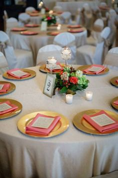 Gold and coral wedding. I would love to have a gold charger. Budget permitting this will happen!