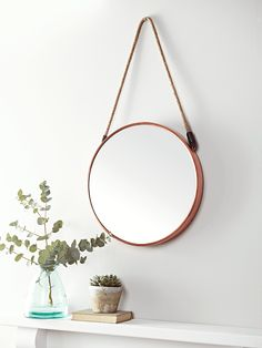 Inspired by our bestselling Cruise Mirror, this larger version with a warm copper frame will add a feeling of space and light to whichever room you place it in. With a subtle nod to nautical style, it has a braided rope to hang from the wall. Mirrors For Sale, Vintage Mirrors, Vintage Bathrooms, Round Mirrors, Coastal Mirrors, Bathroom Mirrors, Bathroom Wallpaper, Bathroom Lighting, Bedroom Decor