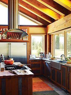 kitchen--wood, sink, windows