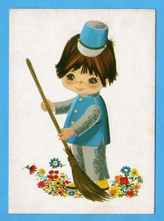 Vintage+doll+postcard+70s.++Big+eyed+boy+is+von+bluumievintage