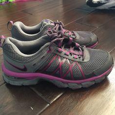 Only worn once Purple Nikes Super cute grey and purple running shoes that are like new! Super comfy and trendy! Make is Trail Ridge 2. I bundle just ask, or use the bundle feature! Please use the make and offer button to make offers!  Nike Shoes