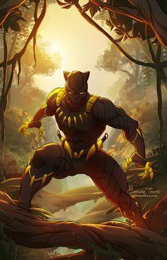 Black Panther by Carmen Torres (Marvel Comics) Comic Book Characters, Comic Book Heroes, Marvel Characters, Comic Character, Comic Books Art, Comic Art, Black Panther Marvel, Black Panther Art, Panther Print