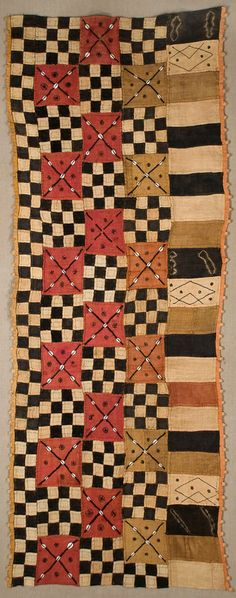 Africa | Ndengese skirt fragment, from the Kuba people of DR Congo | Raffia patchwork, with cowrie shells