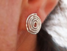 Excited to share the latest addition to my #etsy shop: Sterling Silver Stud Earrings, Spiral Silver Earring, Everday Studs, Handmade Jewelry http://etsy.me/2Cl1jBY