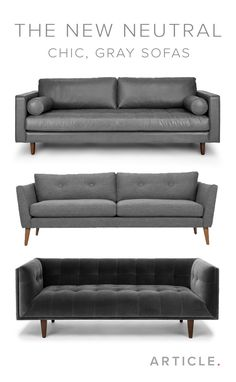 The gray sofa is a decor must-have. It seamlessly blends well with most existing furniture and can be a blendable neutral or a standout centerpiece. Shop more gray sofas at http://article.com