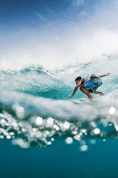 Surf Surfing Surfer Ocean Blue Green Water Wave