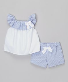 Look at this White & Blue Seersucker Bow Top & Shorts - Infant & Toddler on #zulily today!