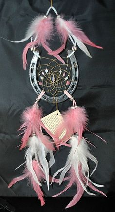 Handmade Horseshoe Dreamcatcher in Pink and White with Crystal on Etsy, $22.00