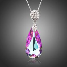 Cheap crystal pendant necklace, Buy Quality drop necklace directly from China necklace a Suppliers: AZORA Sparking Big Water Drop Pink Color-change Stellux Australian Crystal Pendant Necklace of Love Moonstone Pendant, Crystal Pendant, Pendant Necklace, Expensive Jewelry, Teardrop Necklace, Sterling Silver Necklaces, Diamond Necklaces, Modern Jewelry, Pink Color