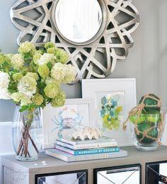 entryway table decor, sofa table decor, centsational girl, console table decor, home decor