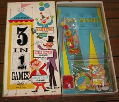 Vtg Saalfield Game 3 in 1 Merry Midway Carnival County Fair Toy 60s Rare Board