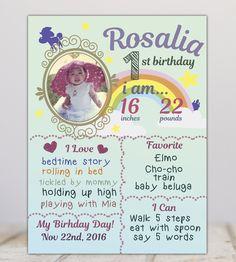 Rainbow photo chalkboard FIrst year milestone board baby chalkboard rainbow first birthday poster Rainbow First Birthday, First Birthday Sign, First Birthday Posters, Baby Girl Birthday, Unicorn Birthday, Baby Boy Cards, Rainbow Photo, Birthday Chalkboard, New Baby Boys