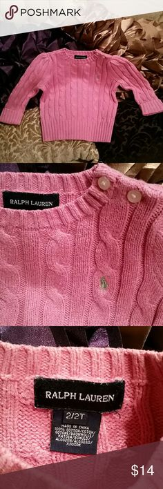 2T GIRLS RALPH LAUREN CABLE KNIT SWEATER PINK EUC Little girls sz 2T Ralph Lauren pink button shoulder sweater cotton cable knit EUC green embroidered pony. Ralph Lauren Shirts & Tops Sweaters