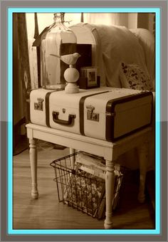 Give low end tables height with a vintage suitcase!