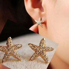 Golden Starfish Full Rhinestone Fashion Earrings | LilyFair Jewelry, $12.99!