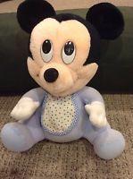 Vintage Disney Baby Mickey Mouse Plush 1984 Blue Pajamas