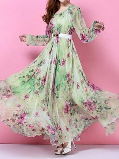 Ericdress Green Printed Long Sleeve Maxi Dress  Maximum Style