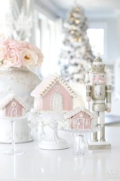 """Today I'm sharing my pink Christmas kitchen in our """"Home For The Holidays Tour"""". It includes fresh roses, nutcrackers, gingerbread houses and lots of sugar! Christmas Kitchen, White Christmas, Christmas Holidays, Christmas Crafts, Christmas Music, Minimalist Christmas, Hallmark Christmas, Christmas Christmas, Christmas Stockings"""