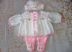 Crochet Baby Girl  Sweater Set Layette And by MADEWITHLOVEBYSUZIEQ