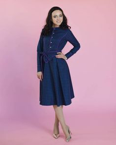 ead472666c Elegant violet under the knee cotton dress, elegant soft pleated flare midi  dress, with long sleeves, pockets and belt, buttoned fastener