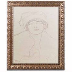 Trademark Fine Art Portrait of a Young Woman by Gustav Klimt, Gold Ornate Frame, Size: 11 x 14