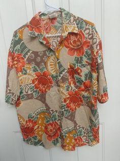 Bobbie Brooks Large 16/18 burnt Hawaiian orange green button down collared shirt #BobbieBrooks #ButtonDownShirt