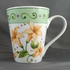 I. Godinger & Co. Coffee/Tea Mug - 12 oz -  White w/Orange Flowers Floral Cup #IGodinger #Spring