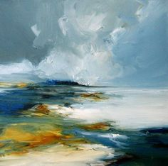 Sea Tide, Oil painting by Alison Johnson Abstract Landscape Painting, Abstract Canvas Art, Seascape Paintings, Landscape Art, Landscape Paintings, Watercolor Paintings, Abstract Oil, Sand Art, Painting Inspiration