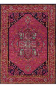 Oriental Weavers Kaleidoscope 1332S Pink Rug. Area rug, carpet, design, style, home decor, interior design, pattern, trend, statement, summer, cozy, sale, discount, free shipping, red.