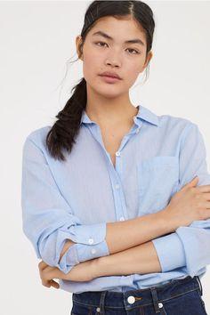 b826c8195e Camisa de algodón - Azul claro - MUJER