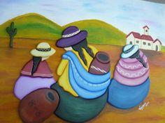 diseños de coyas para pintar - Buscar con Google Mexican Clay Pots, Peruvian Art, Peruvian Women, Mexican Paintings, South American Art, Mexico Art, Desert Art, Pencil Painting, Paint Party