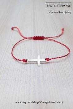 Cross Spring March Bracelet, Martisor Bracelet, Greek Cross Bracelet, Martis Bracelet, Best Friend Gift by VintageRoseGallery Mens Cross Bracelet, Mens Crosses, Vintage Roses, As You Like, Kids Wear, Gifts For Friends, Men's Jewellery, Jewelry, Red And White