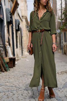 3f0e33f78d3 Bohmoi Turndown Collar Button Ankle Length Dress (2 Colors)