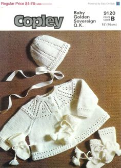 ON SALE Vintage PDF Baby Knitting Pattern Copley by avintagescot, $1.65