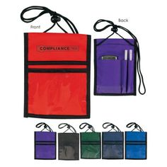 The Custom Branded Mondo Badge Wallet has a velcro top flap opening, large main pocket, clear front pocket for badge, open flap pocket, rear open pocket, double pen holders, adjustable strap using push button lock, and a vinyl strip for trade show ribbons.