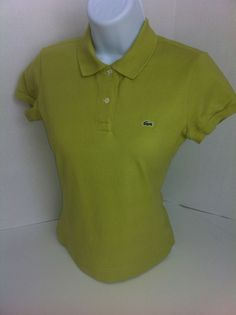LACOSTE Olive Green Polo Shirt 36 (4) Extra Small XS Short Sleeve Gator Logo #Lacoste #PoloShirt #Casual SOLD