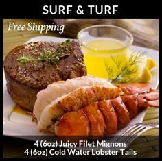 Surf & Turf - 4 (6oz) Filet Mignons & 4 (6oz) Cold Water Lobster Tail...