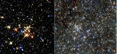 Quintuplet Cluster. It's most famous star is the Pistol star, the most luminous known star in the Galaxy. On the left is the Hubble image from 1999. On the right is a new one from 2015 - quite a difference in resolving power for the fabulous space telescope.