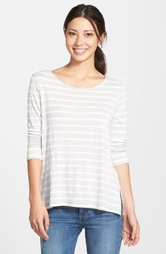 Caslon® Stripe Side Zip Top