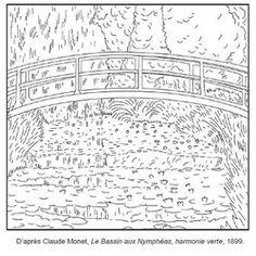 Coloriage Claude Monet Le bassin aux Nymphéas Harmonie verte