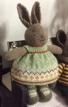 Feb 2020 - Ravelry: Project Gallery for bunny girl in a dotty dress pattern by Julie Williams Knitted Bunnies, Knitted Animals, Knitted Dolls, Crochet Toys, Crochet Birds, Crochet Bear, Knitted Baby, Knitting Projects, Crochet Projects